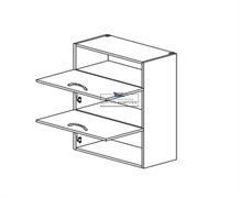 Корпус навесной под газ-лифт (2 двери) - (ниша сверху) 920*600*300 мм.