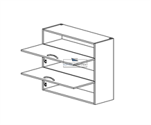 Корпус навесной под газ-лифт (2 двери) - (ниша сверху) 920*1000*300 мм.