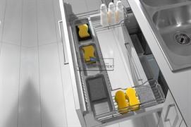 Сетка в базу 1200 П-образная под мойку выдвижная с доводчиком, отделка хром