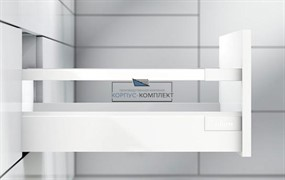 Высокий ящик TANDEMBOX antaro D с одинарным релингом. Царга - K (450мм) Белый шелк