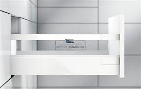 Высокий ящик TANDEMBOX antaro D с одинарным релингом. Царга - K (500мм) Белый шелк