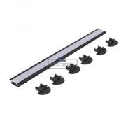 Комплект LED профиля 2206 L=3000мм, отделка черный, с матовым рассеивателем, заглушками 6 шт, врезной